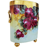 "William Guerin Limoges France 1900's Hand Painted ""Deep Red Roses & Lilacs"" 9-1/4"" Floral Cache Pot by the Artist, ""M.R."""