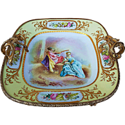 "Beautiful Sevres 1850's Gilt Bronze Ormolu Hand Painted ""Serenading A Lady"" 12-1/2"" x 12-1/2"" Center Piece Scenic Dish by the Artist, ""Daligny"""