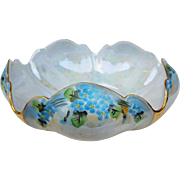 "Beautiful RS Germany 1910 Hand Painted ""Forget Me Not"" 8"" Fancy Floral Iridescent Scallop Bowl"
