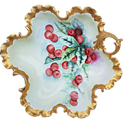 "Gorgeous Rosenthal Bavaria 1900's Hand Painted ""Cherries"" 10-3/4"" Fancy Scallop Nappy Bon-Bon Bowl"