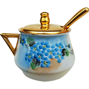 "Gorgeous RS Germany 1910 Hand Painted ""Forget Me Not"" Floral Mustard Pot & Spoon"