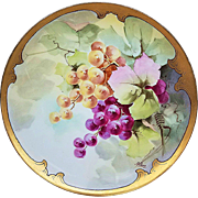 "Beautiful Haviland France & J.H. Stouffer & Co. 1906 Hand Painted ""Purple & Yellow Grapes"" Fruit Plate by Listed Artist, ""A. Piron"""
