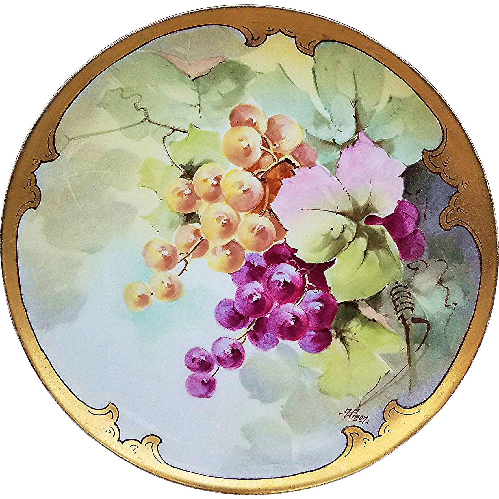 """Beautiful Haviland France & J.H. Stouffer & Co. 1906 Hand Painted """"Purple & Yellow Grapes"""" Fruit Plate by Listed Artist, """"A. Piron"""""""
