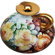 "Outstanding J.P.L. Limoges France 1914 Hand Painted Large ""Yellow & Peach Roses"" Squatty Floral Ewer by the Listed Artist, ""Alice Leigh"""