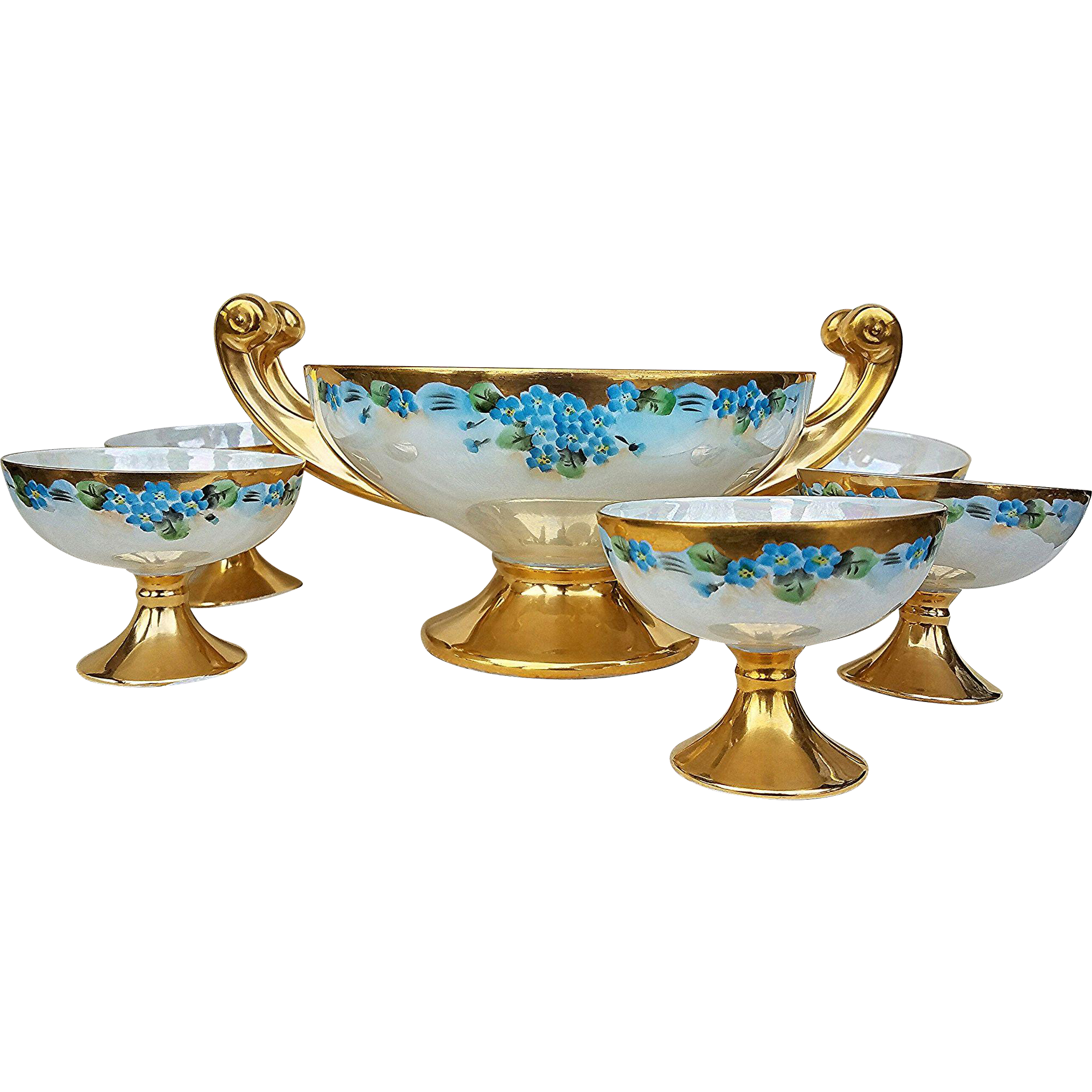 "Gorgeous Hutschenreuther Selb Bavaria 1900's Hand Painted ""Forget Me Not""  6 Pc Pedestal Floral Center Bowl Set"