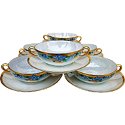 "Gorgeous Early 1900's Hand Painted ""Forget Me Not"" Floral Bouillon Set of 6 Bowls & Saucers"