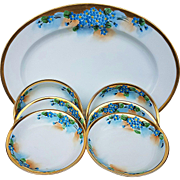 "Beautiful Vintage American Decorated 1900""s Hand Painted Set of 7 Pc. Platter & Berry Set of Floral ""Forget Me Not"""