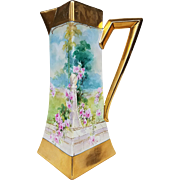 "Spectacular Julius Brauer Studio of Chicago 1905 Hand Painted ""Italian Rose Garden"" 11-1/4"" Flared Floral Tankard by Listed Artist, ""Julius Brauer"""