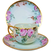 "Beautiful Bavaria 1915 Hand Painted ""Pink Roses"" Floral Cup, Saucer, & Plate 3-Pc Set by Listed Artist, ""Mary Reynolds"""