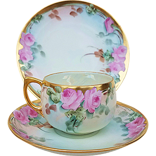 """Beautiful Bavaria 1915 Hand Painted """"Pink Roses"""" Floral Cup, Saucer, & Plate 3-Pc Set by Listed Artist, """"Mary Reynolds"""""""
