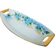 "Attractive Vintage American Decorated 1900's Hand Painted ""Forget Me Not"" 9-1/4"" Floral Celery"