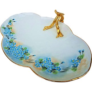 """Charming Limoges France 1900's Hand Painted """"Forget Me Not"""" 10-7/8"""" Floral Tray"""