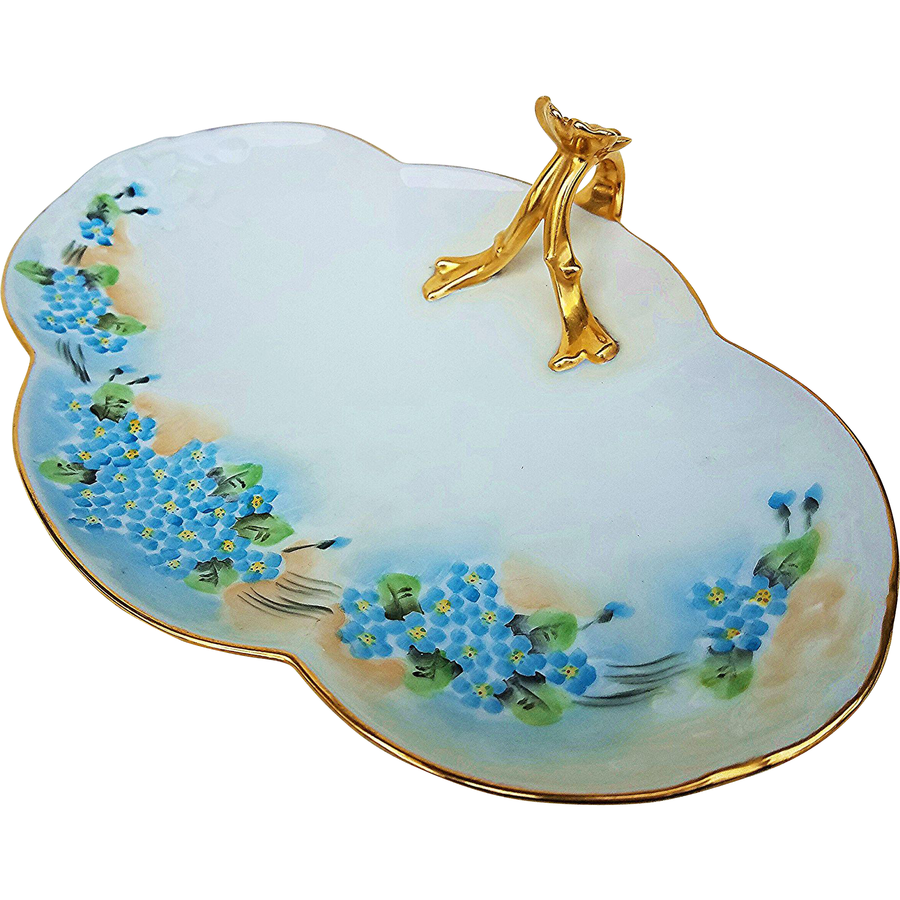 "Charming Limoges France 1900's Hand Painted ""Forget Me Not"" 10-7/8"" Floral Tray"