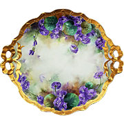 "Impressive & Large Jean Pouyat Limoges France 1906 Hand Painted ""Violets"" 11-3/4"" Floral Plate by the Artist, ""E.A.B."""