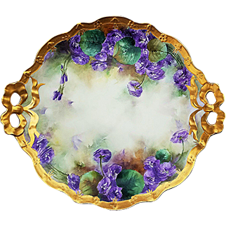 """Impressive & Large Jean Pouyat Limoges France 1906 Hand Painted """"Violets"""" 11-3/4"""" Floral Plate by the Artist, """"E.A.B."""""""
