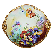 "Gorgeous Jean Pouyat Limoges France 1900's Hand Painted ""Purple, Yellow, & Burnt Orange Pansy"" 13-1/8"" Fancy Scallop Floral Charger by the Artist, ""Halhman"""