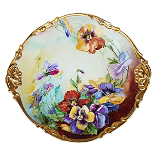 """Gorgeous Jean Pouyat Limoges France 1900's Hand Painted """"Purple, Yellow, & Burnt Orange Pansy"""" 13-1/8"""" Fancy Scallop Floral Charger by the Artist, """"Halhman"""""""
