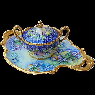 "Spectacular Jean Pouyat Limoges France 1900's Hand Painted Vibrant ""Violets"" Floral Cracker Jar"