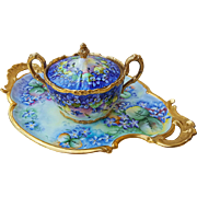 "Outstanding T & V Limoges France 1900's Hand Painted ""Violets"" 18"" Fancy Scallop Floral Tray by the Artist, ""Bridge"""
