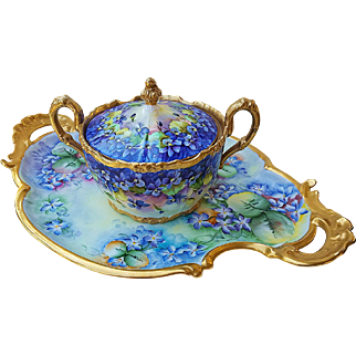 """Outstanding T & V Limoges France 1900's Hand Painted """"Violets"""" 18"""" Fancy Scallop Floral Tray by the Artist, """"Bridge"""""""