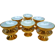 "Superb Vintage 1920's American Decorated Set of 12 Pedestal ""Salt Dips"" in 22 K Gilded Gold"