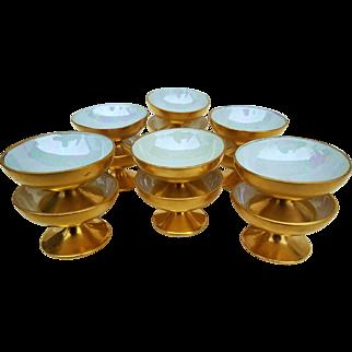 """Superb Vintage 1920's American Decorated Set of 12 Pedestal """"Salt Dips"""" in 22 K Gilded Gold"""