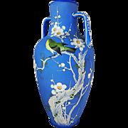 "Beautiful Nippon 1900's Hand Painted ""Japanese White Eye Mejiro"" 9-1/2"" Moriage Bird Vase"