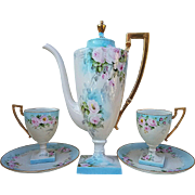 "Spectacular Belleek Willets 1907 Hand Painted ""Pink Roses"" 3-Pc Floral Tea Set by the Artist, ""Birmingham"""