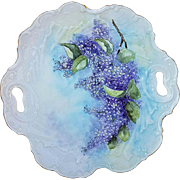"Beautiful Bavaria Hand Painted ""Lilacs"" 9"" Floral Plate by Artist, ""Melissa Benton"""