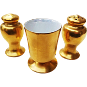 Beautiful Vintage 1920's American Decorated Gilded Gold Salt, Pepper, & Toothpick Set