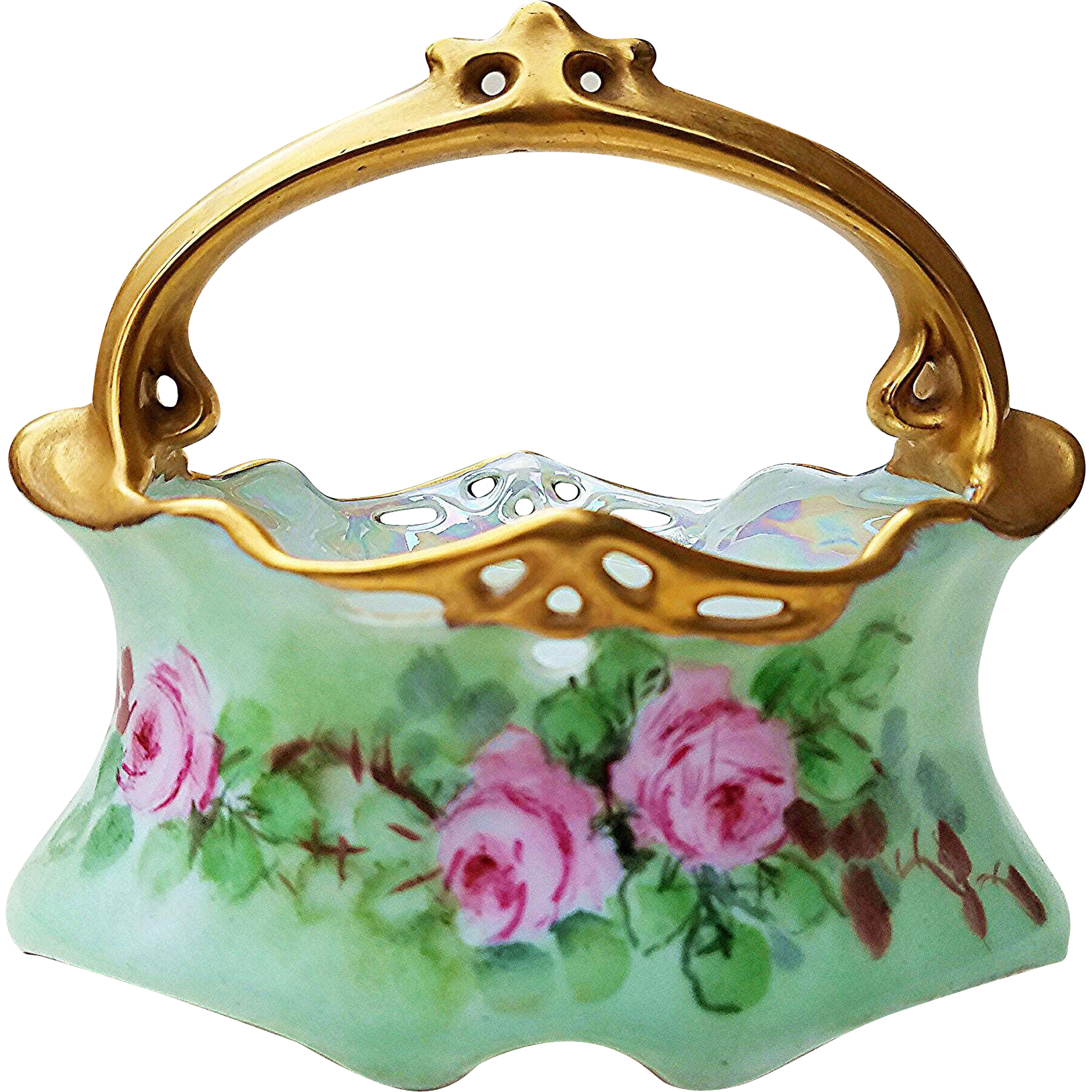 "Gorgeous Bavaria Early 1900's Hand Painted ""Pink Roses"" Reticulated Floral Basket by the Artist, ""Paynton"""