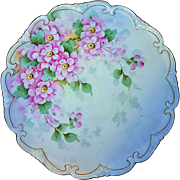 "Beautiful Vienna Austria Vintage 1900's ""Wild Pink Violets"" 8-1/2"" Fancy Scallop Floral Plate by the Artist, ""Huyar"""