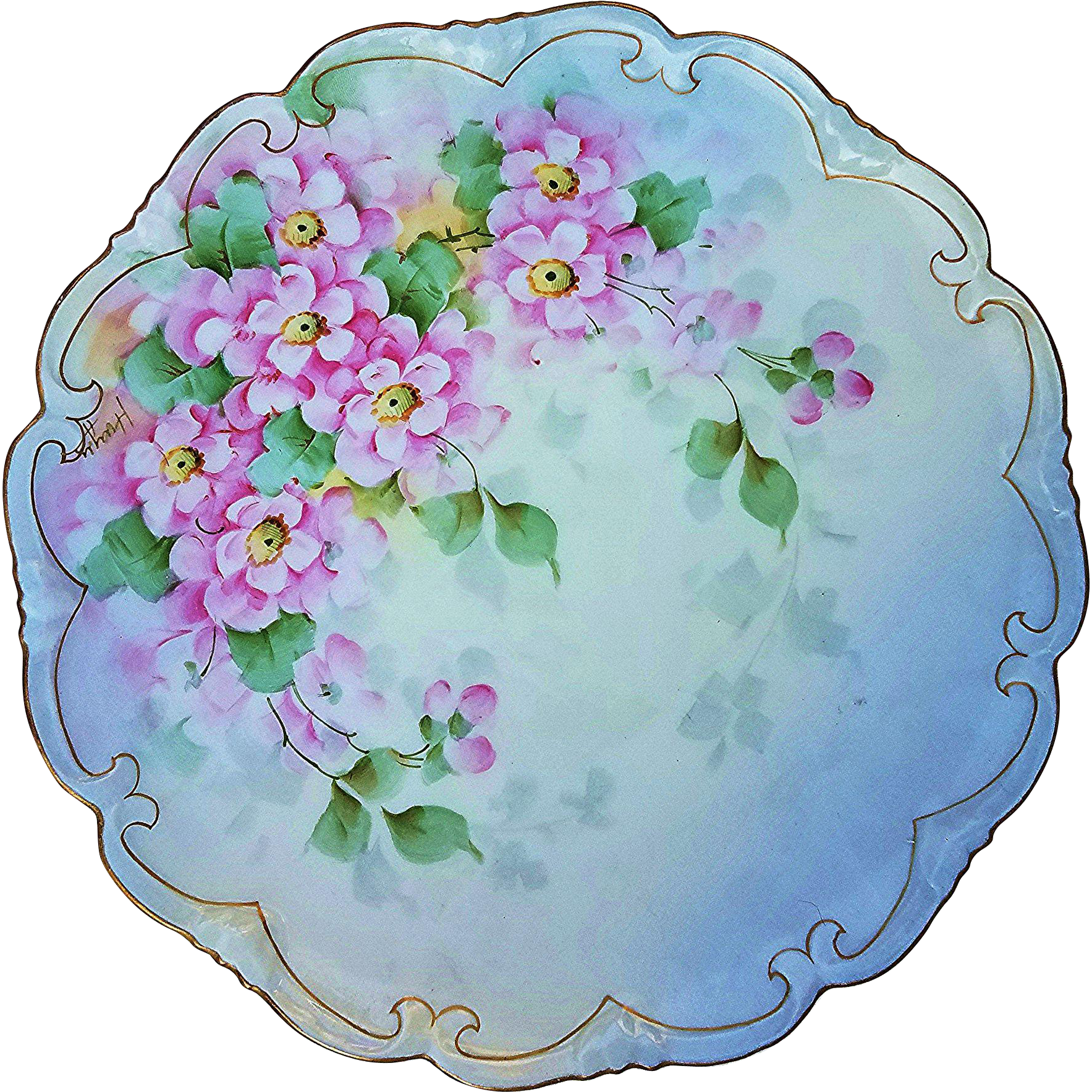 """Beautiful Vienna Austria Vintage 1900's """"Wild Pink Violets"""" 8-1/2"""" Fancy Scallop Floral Plate by the Artist, """"Huyar"""""""
