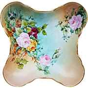 "Beautiful European 1899 Hand Painted Fancy ""Red, Pink, & Yellow Roses"" 10-7/8"" Fancy Floral Bowl by the Artist, ""E.J. Beardsley"""