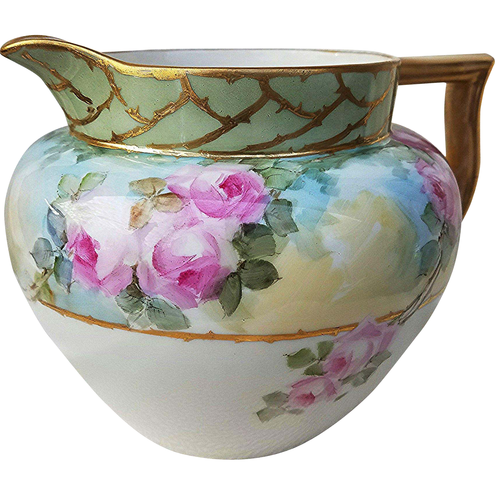 "Gorgeous Lennox Belleek 1900's Hand Painted Soft ""Pink Roses"" 6-1/2"" Floral Cider Pitcher"