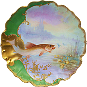 "Exceptional MR France Limoges 1900's Hand Painted Scenic Pond 9"" Fish Plate by the Artist, ""G. Saguet"""