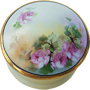 "Beautiful O & E.G. Royal Austria 1900's Hand Painted ""Pink Roses"" Floral Dresser Box"