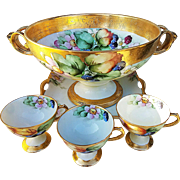 "Spectacular Rosenthal Selb Bavaria 1920's Hand Painted ""Blackberry"" 14-1/2"" Pedestal Center Bowl Set by the Artist, ""C. Blakely"""