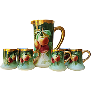 "Exceptional Limoges France & J.H. Stouffer Co. of Chicago 1905 Hand Painted ""Peach"" 7-Pc Fruit Tankard Set by Listed Artist, ""Samuel Heap"""