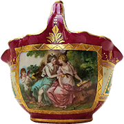 "Beautiful Royal Vienna 1900's Hand Painted ""Two Women With A Cherub"" Basket by the Artist, ""Rch."""