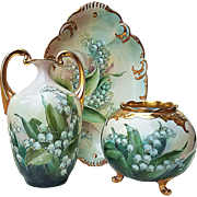 "Fabulous Vienna Austria 1900's Hand Painted ""Lily of the Valley"" Footed Floral Vase by Artist, ""Victoria George"""