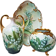 "Spectacular Austria 1900's Hand Painted ""Lily of the Valley"" Muscle Floral Vase by Artist, ""Victoria George"""