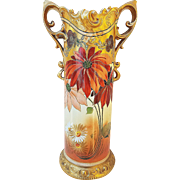 "Spectacular Pickard Studio of Chicago 1903 Hand Painted Vibrant ""Burnt Orange Poppy"" 11-1/4"" Ornate Floral Vase by Listed Artist, ""Paul Gasper"""