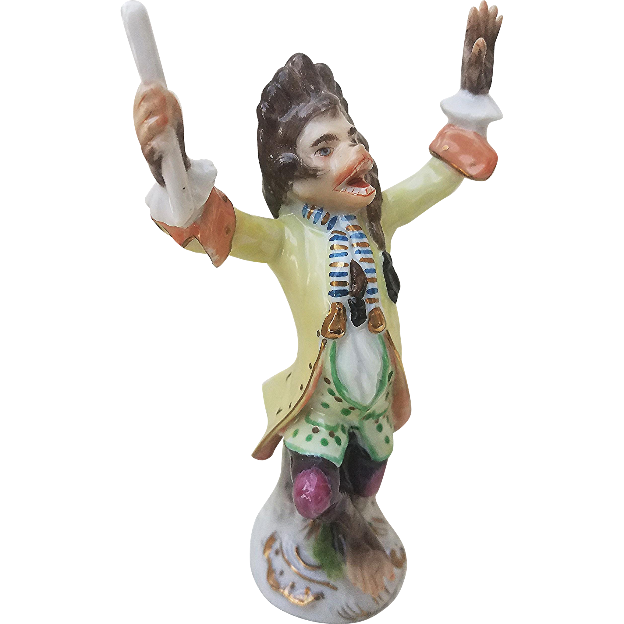 "Exceptional 1900's Hand Painted ""Monkey Band Conductor"" 6"" Porcelain Figurine"