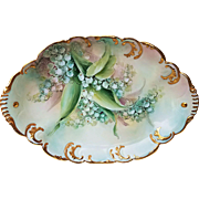 "Wonderful Haviland & Co. France 1900's Hand Painted ""Lily of the Valley"" 11-1/2"" Floral Tray by the Artist, ""Victoria George"""