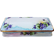 "Bavaria Vintage 1900's Hand Painted ""Violets"" Large 11-3/8"" Floral Glove Box"