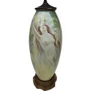 "Wonderful B & Co. France & Adolph Heidrich Studio 1900's Hand Painted ""Portrait of a Nude"" 15-1/4"" Vase/Lamp by Listed Artist, ""Adolph Heidrich"""