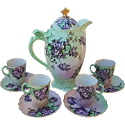 "Spectacular Old Ivory Omhe Germany 1900's Hand Painted ""Violets"" 10 Pc Floral Chocolate Set by Artist, ""L. Nelson"""
