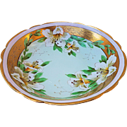 "Gorgeous Limoges France & Pickard Studio of Chicago 1900's Hand Painted ""Easter Lily"" 10"" Floral Bowl by the Listed Artist, ""Frederick Walters"""