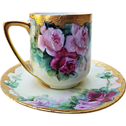 "Fabulous Rosenthal Donatello Bavaria Vintage 1900's Hand Painted Lifelike ""Red & Pink Roses"" Floral Cup & Saucer"